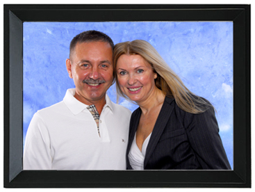 portrait package with black frame