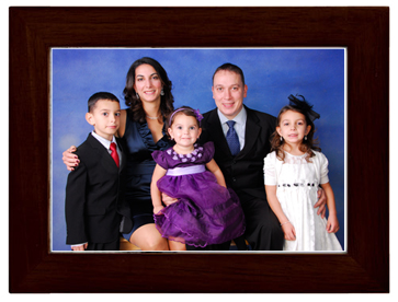 portrait package with brown frame