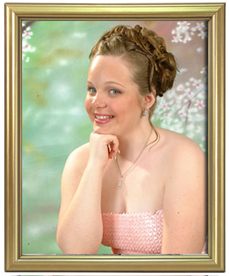 portrait package with gold frame